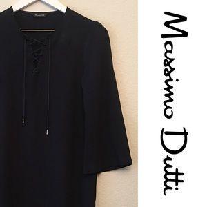 Massimo Dutti Crepe Lace Up Mini Dress Tunic 4